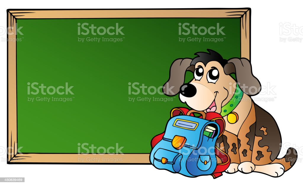Board with dog and school bag royalty-free stock vector art