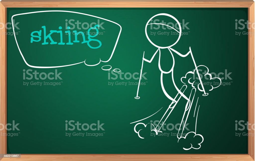 Board with sketch of a person skiing royalty-free stock vector art