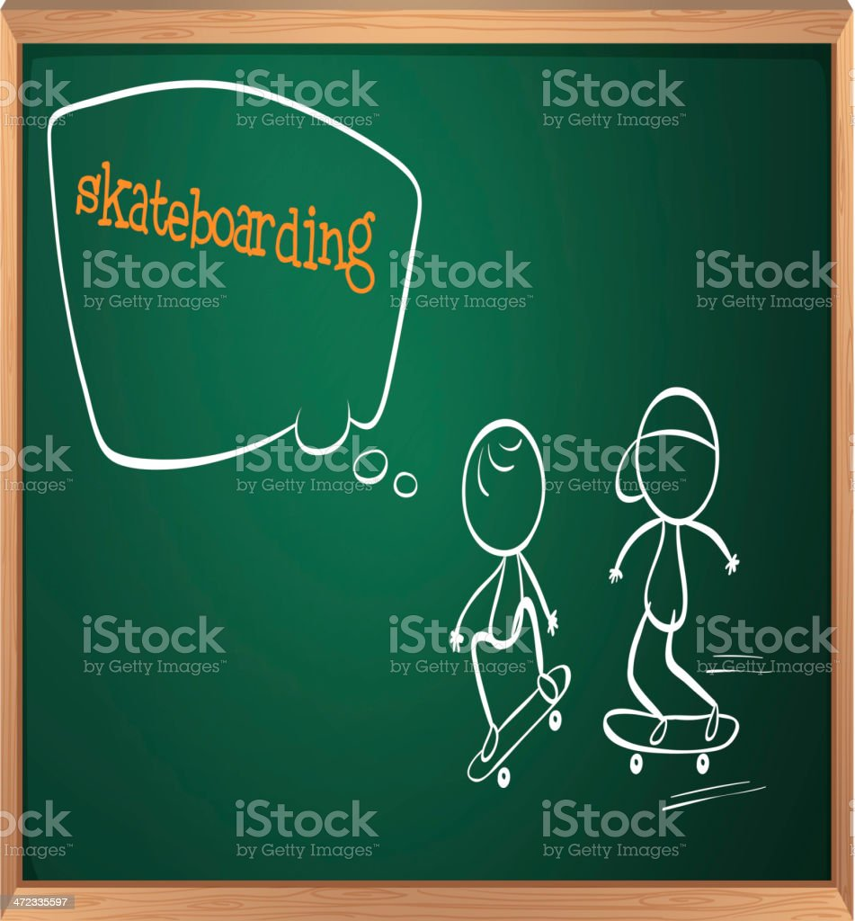 Board with sketch of two people skateboarding royalty-free stock vector art