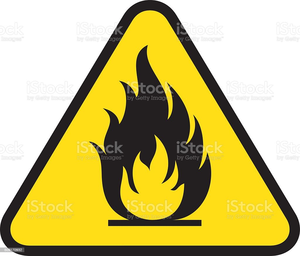 Board yellow triangle signage, burning, fire, flammable vector art illustration