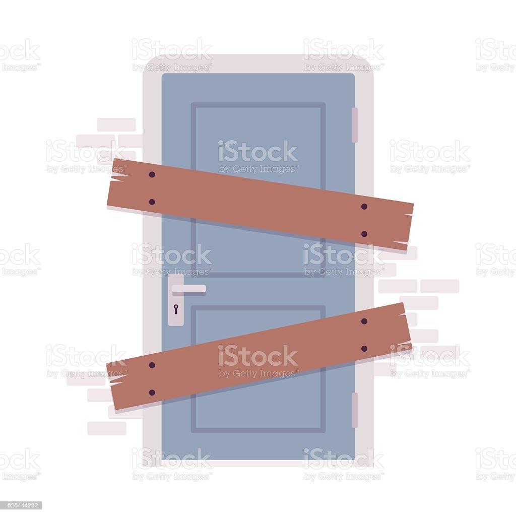 Boarded up door vector art illustration