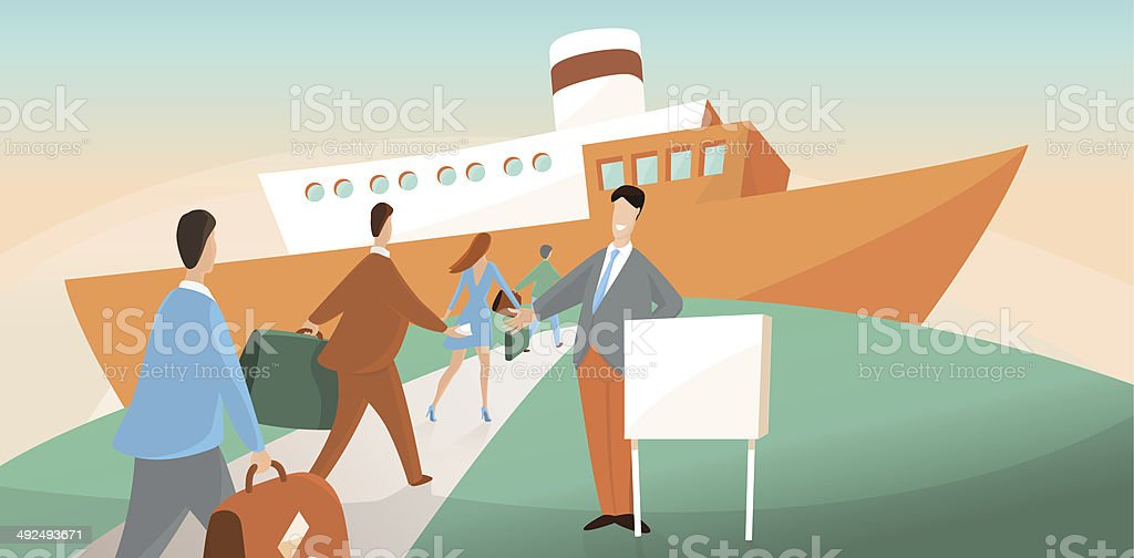 Boarding on ship vector art illustration