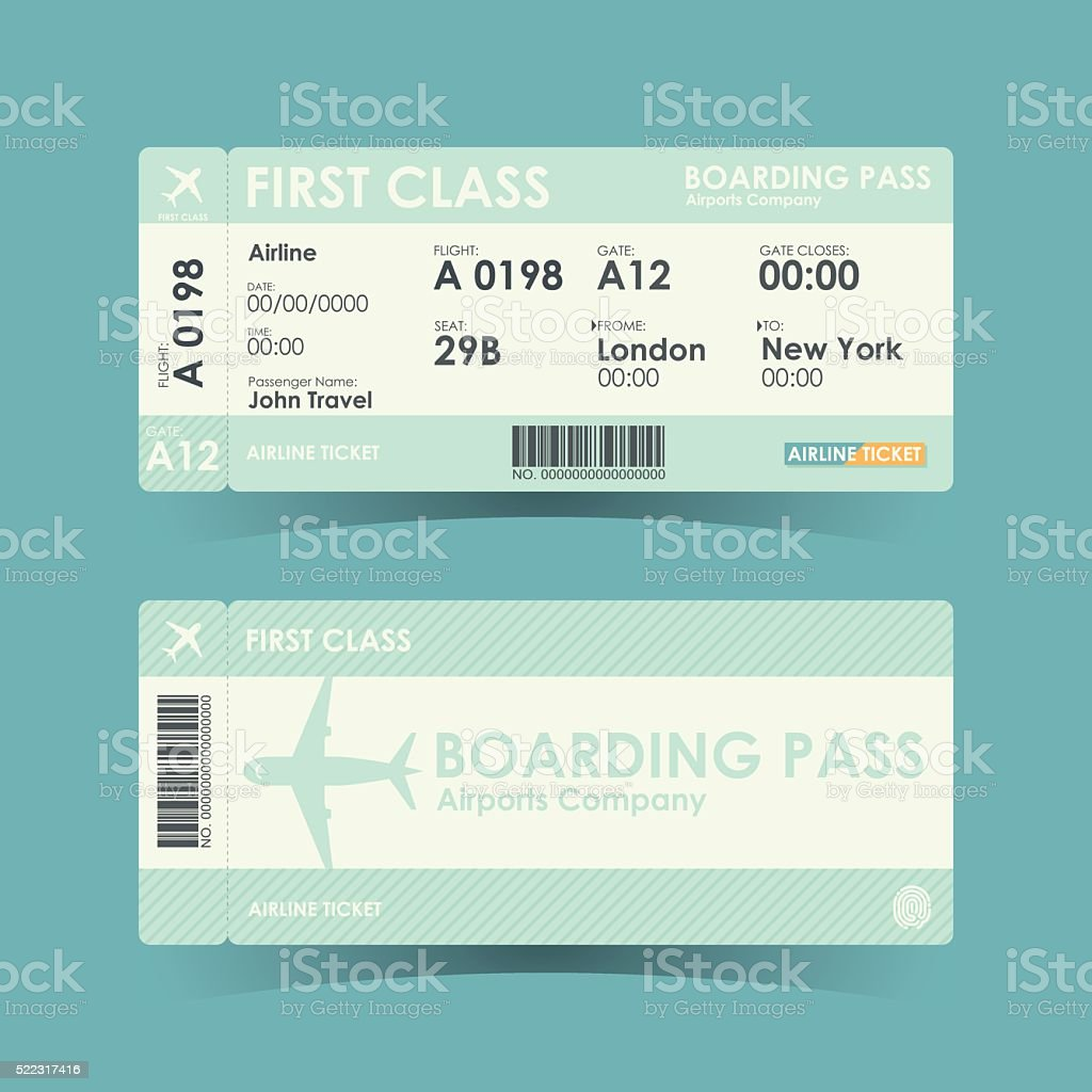 Boarding pass tickets green design. vector illustration. vector art illustration