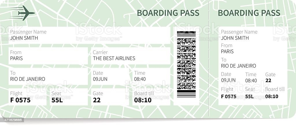 Boarding pass vector art illustration
