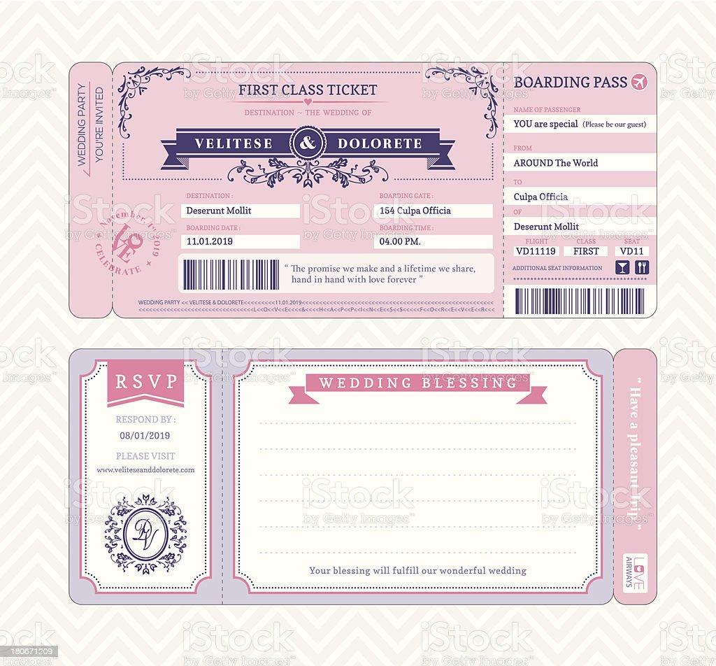 Boarding Pass Wedding Invitation Template royalty-free stock vector art