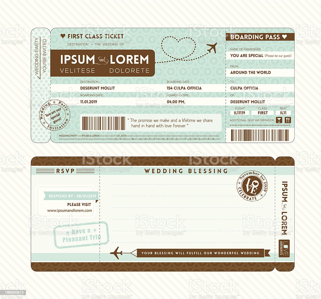 Boarding Pass Wedding Invitation Template vector art illustration