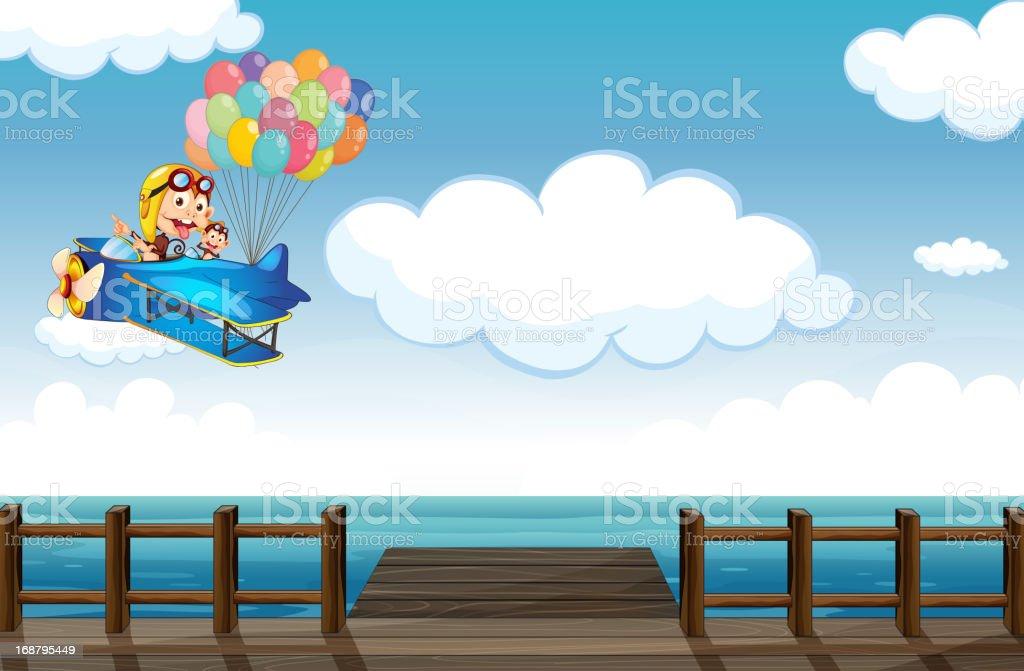 Boastful monkey flying on a plane royalty-free stock vector art