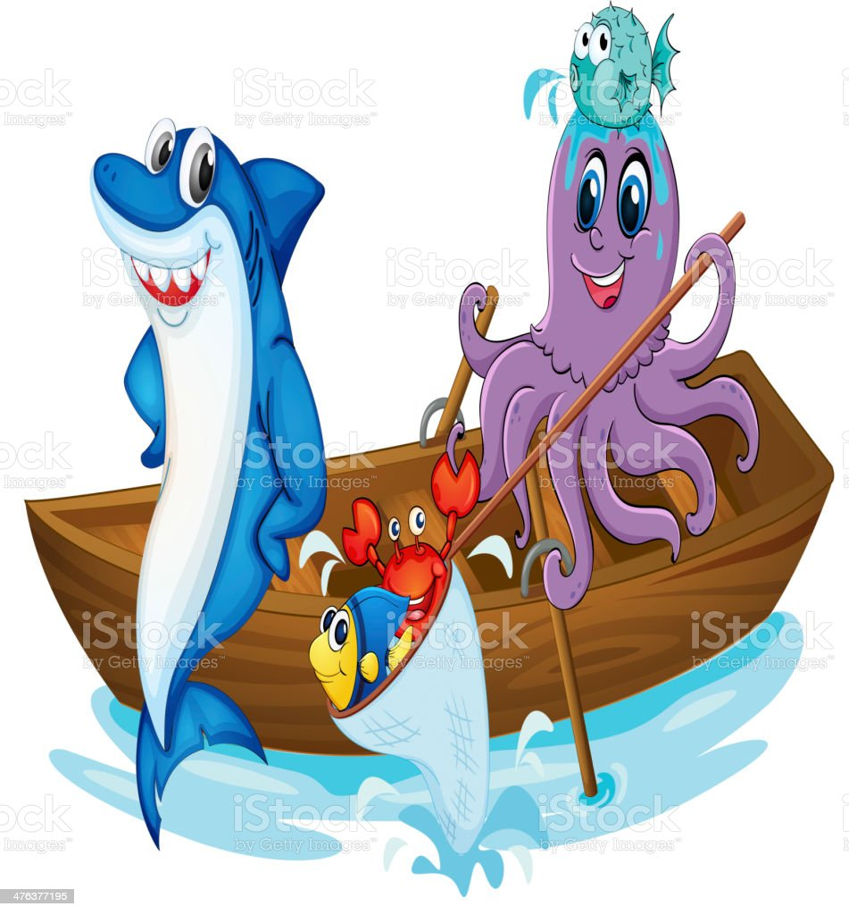 Boat and fish royalty-free stock vector art