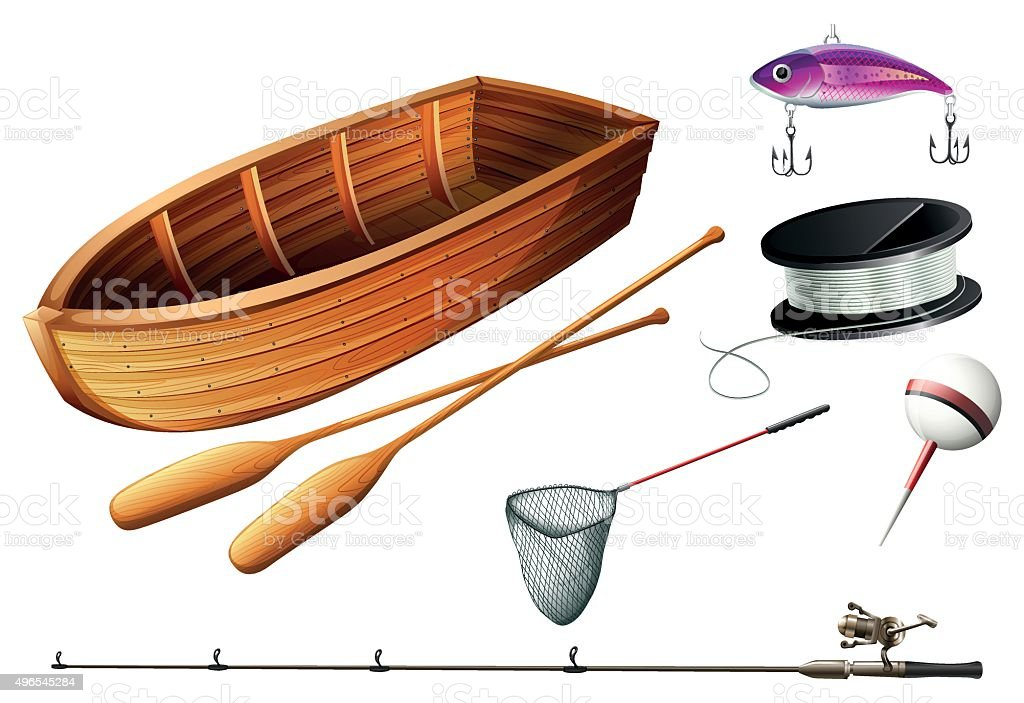 Boat and fishing equipments vector art illustration
