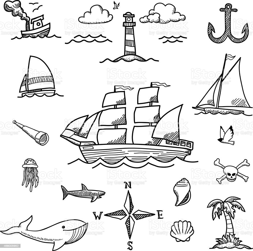 Boat and Sea Doodles vector art illustration