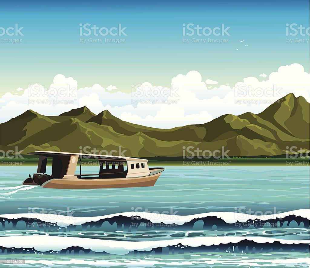 Boat and sea. royalty-free stock vector art