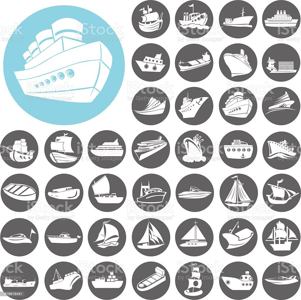 Boat and ship icons set. Illustration eps10 vector art illustration