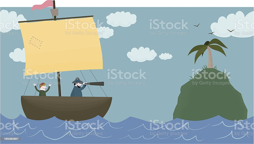 Boat approaches island from sea royalty-free stock vector art