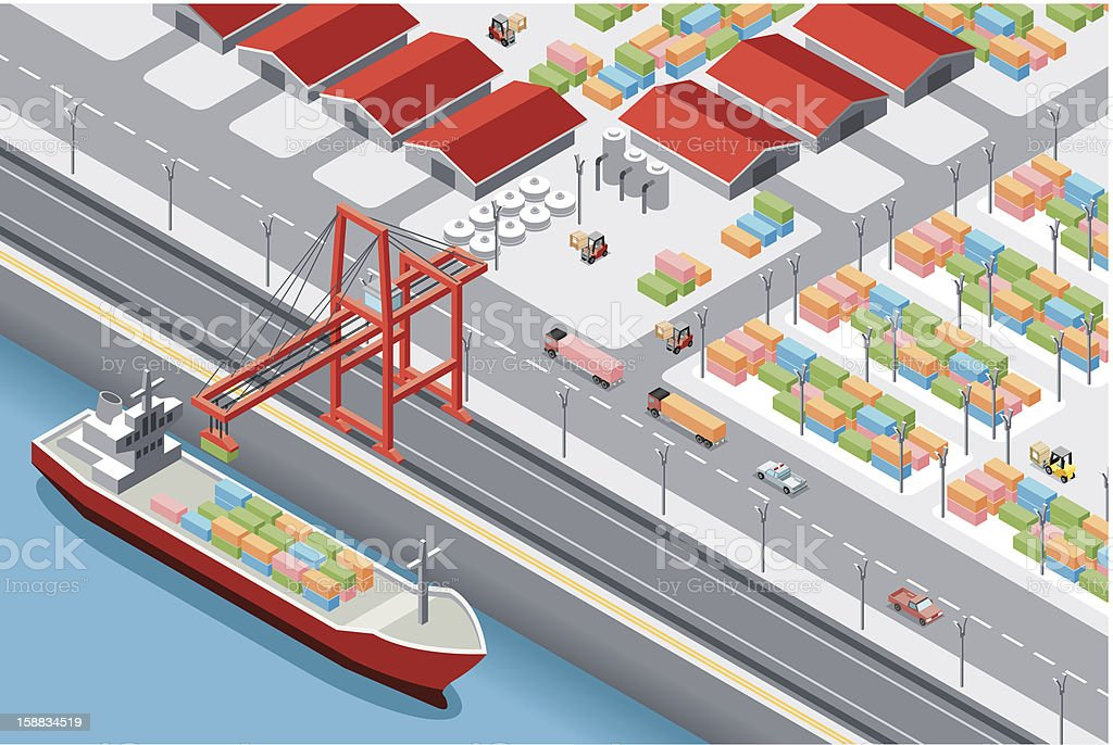 A boat coming into harbor parallel to a road vector art illustration