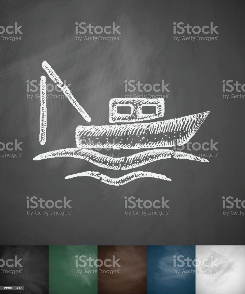boat icon. Hand drawn vector illustration vector art illustration