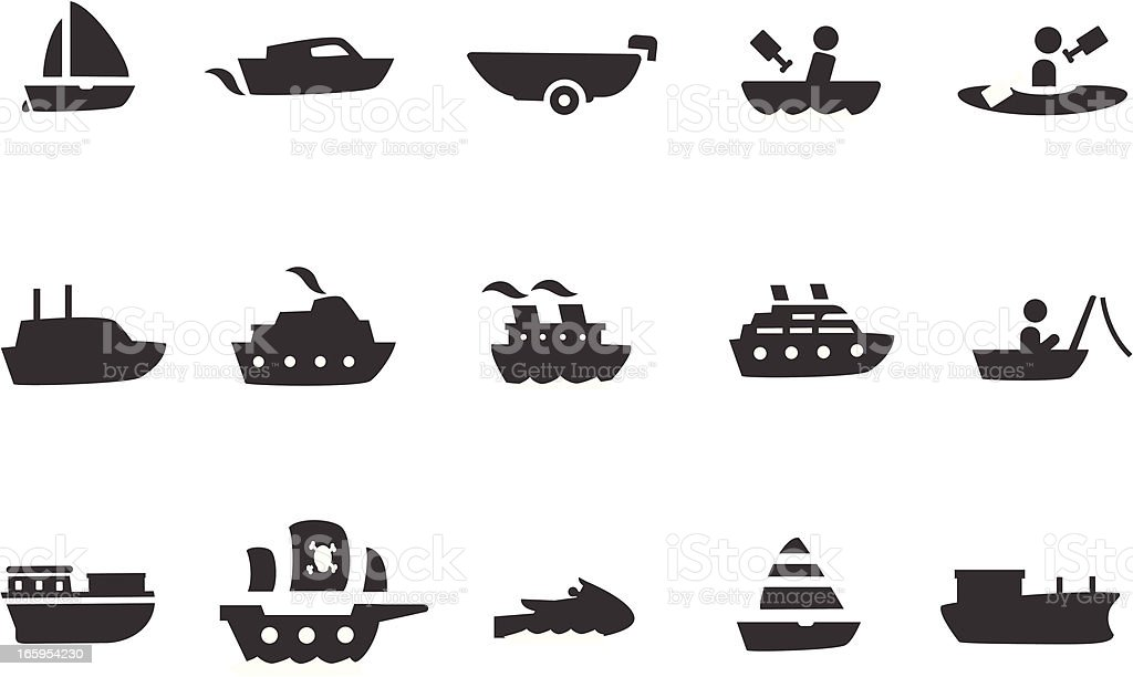 Boat Icon Set vector art illustration