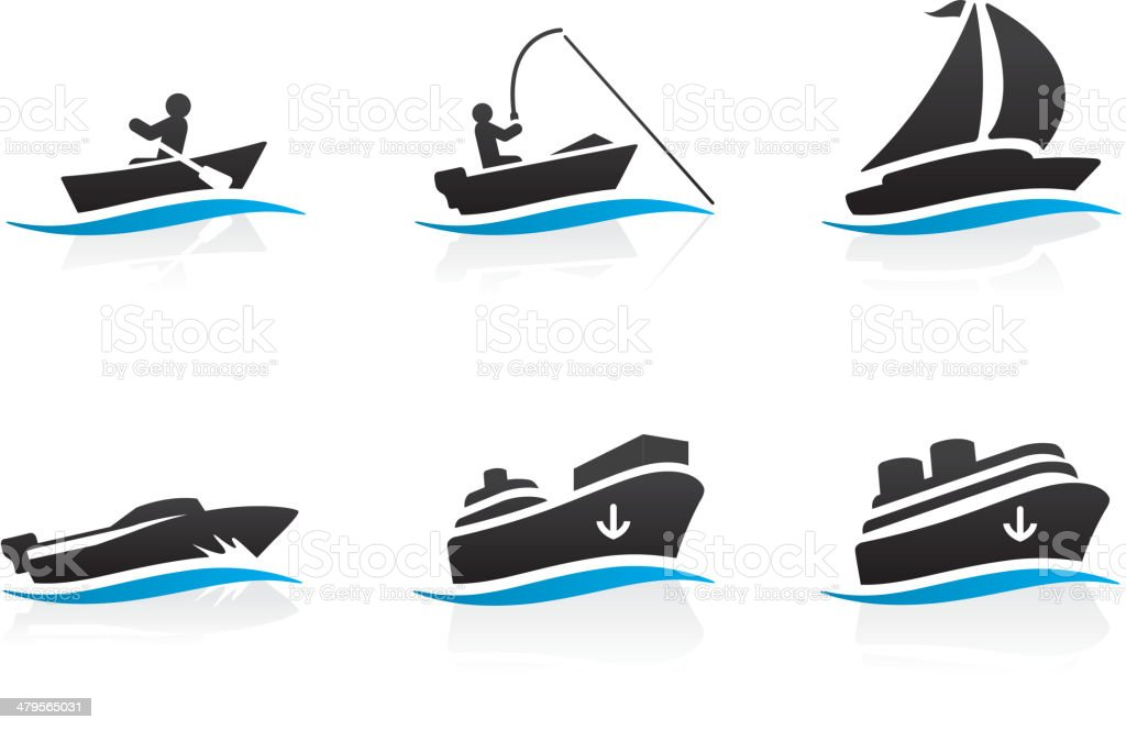 Boat icons vector art illustration