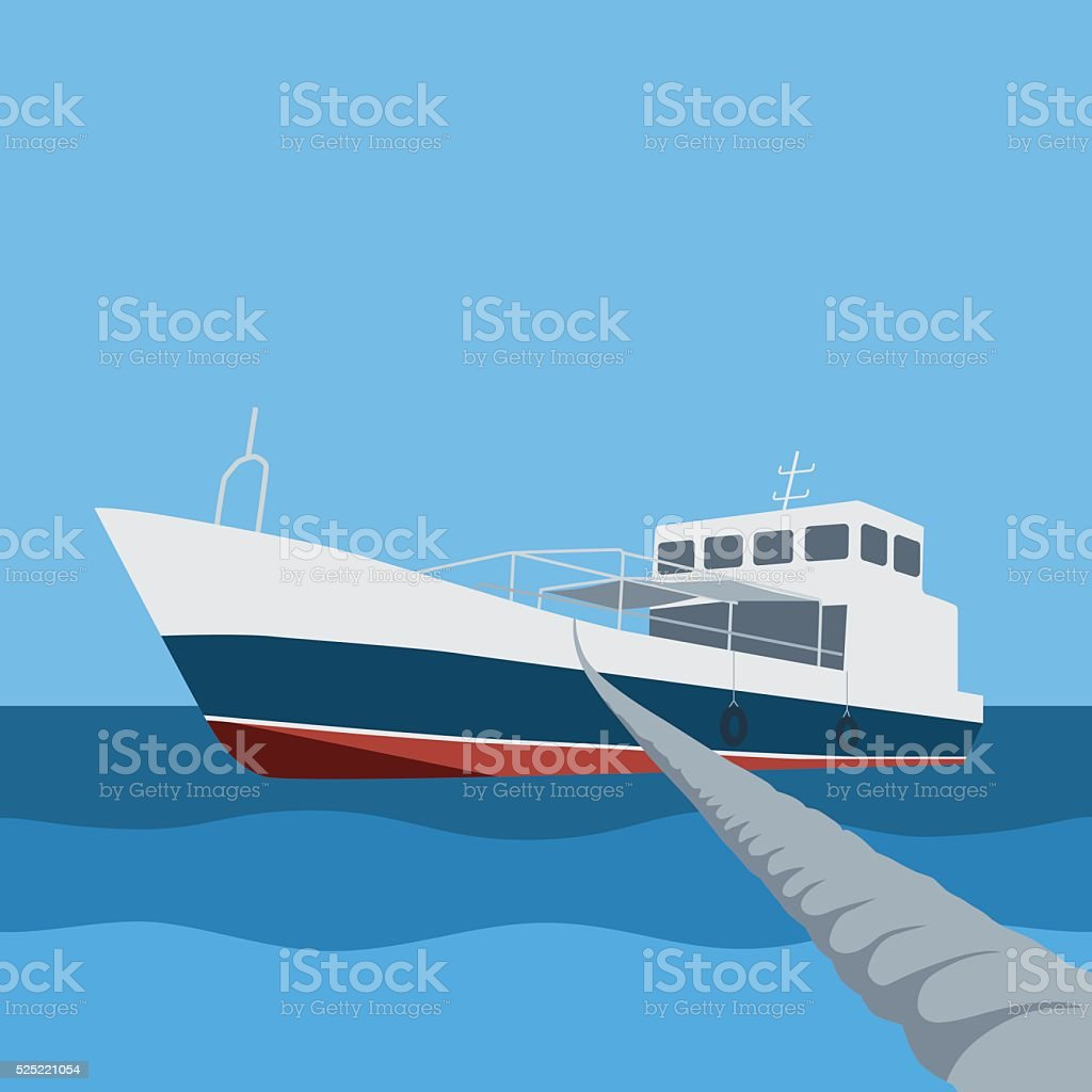 Boat moored with rope vector art illustration