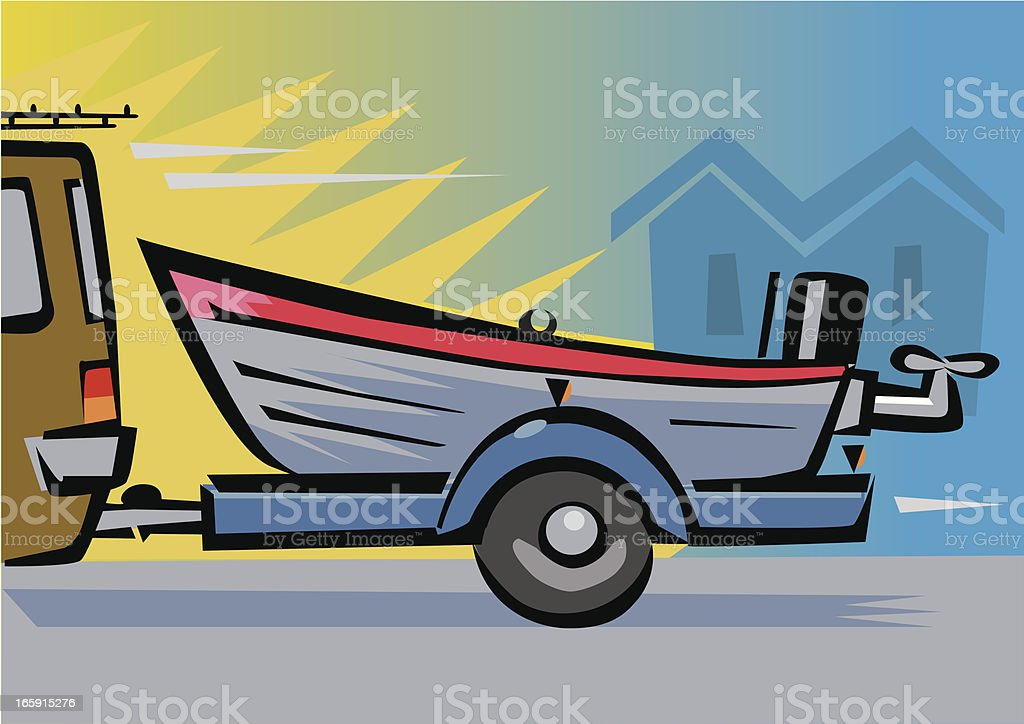 Boat on a Trailer royalty-free stock vector art