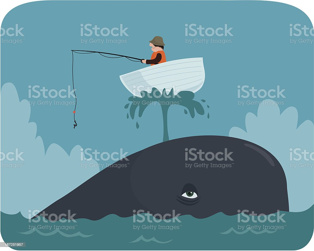 Boat on a Whale vector art illustration