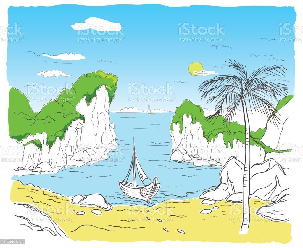 boat on the beach vector art illustration