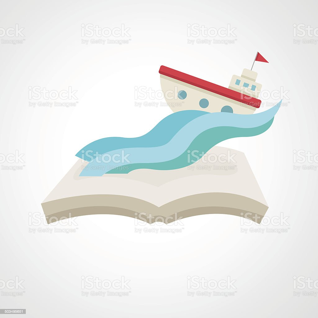 boat on the book vector art illustration