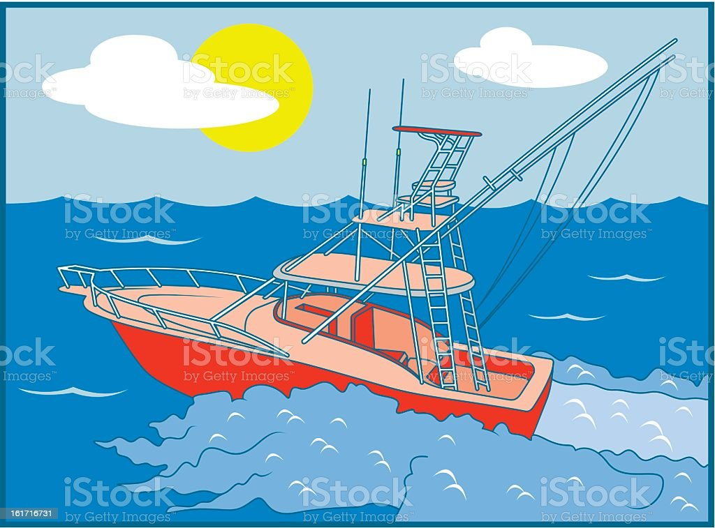 Boat on the Ocean royalty-free stock vector art
