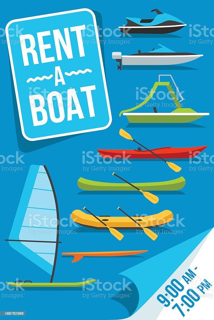 Boat rent poster vector art illustration