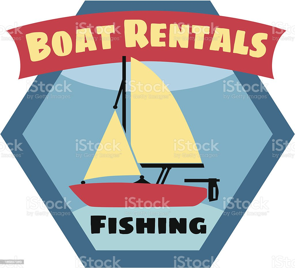 boat rental sign or sticker royalty-free stock vector art