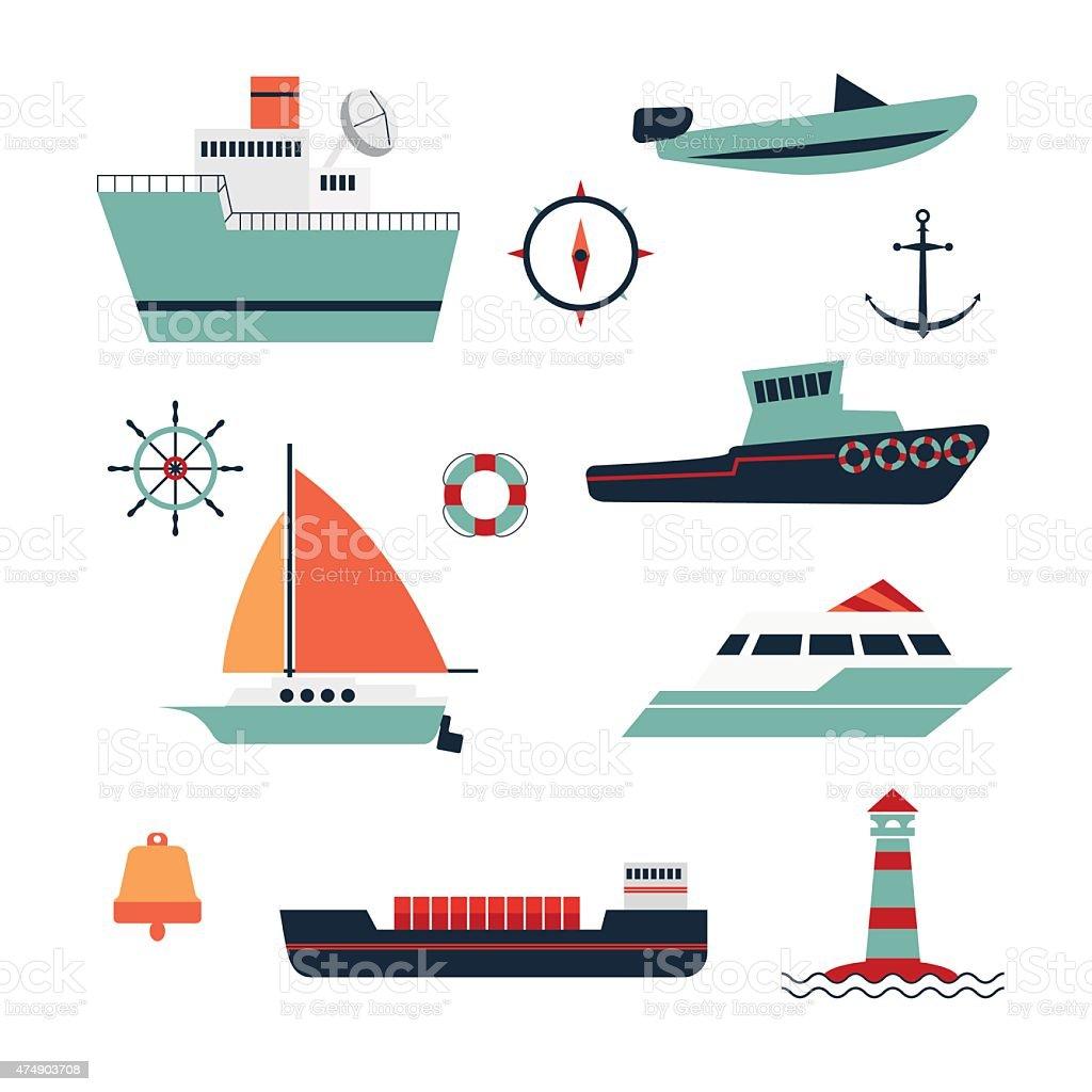 boat- ship vector art illustration