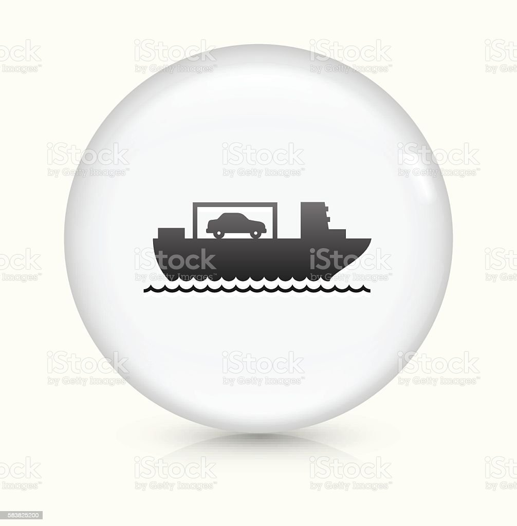 Boat Shipping Cars icon on white round vector button vector art illustration