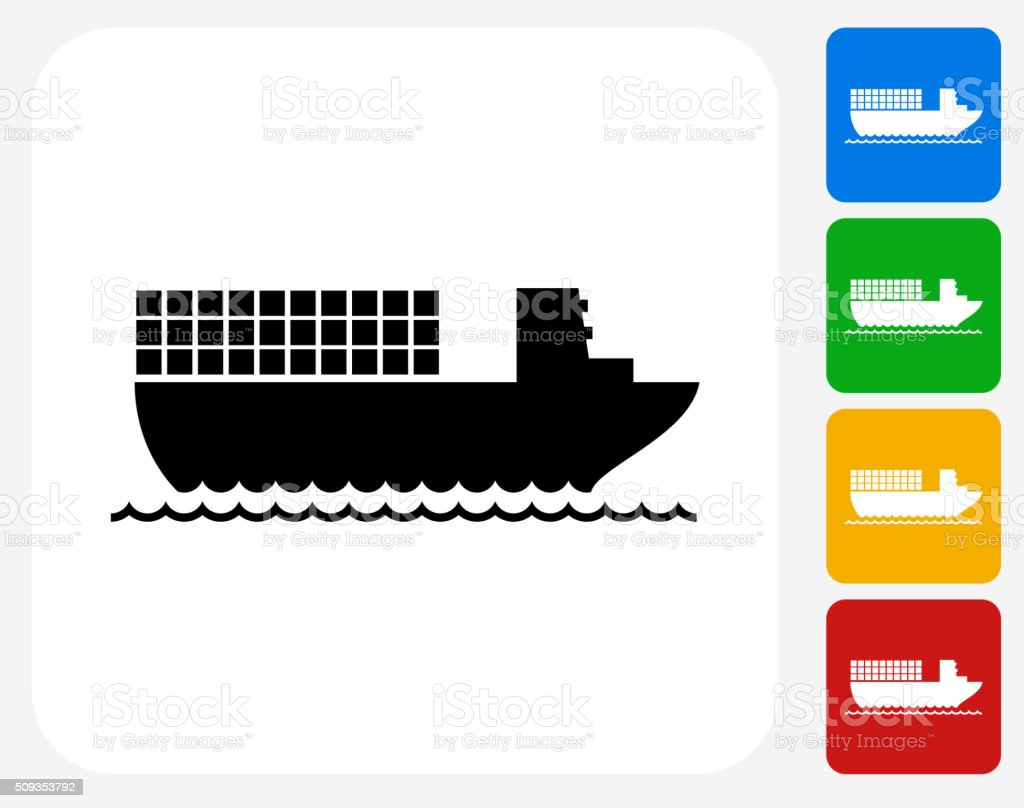 Boat Shipping Icon Flat Graphic Design vector art illustration