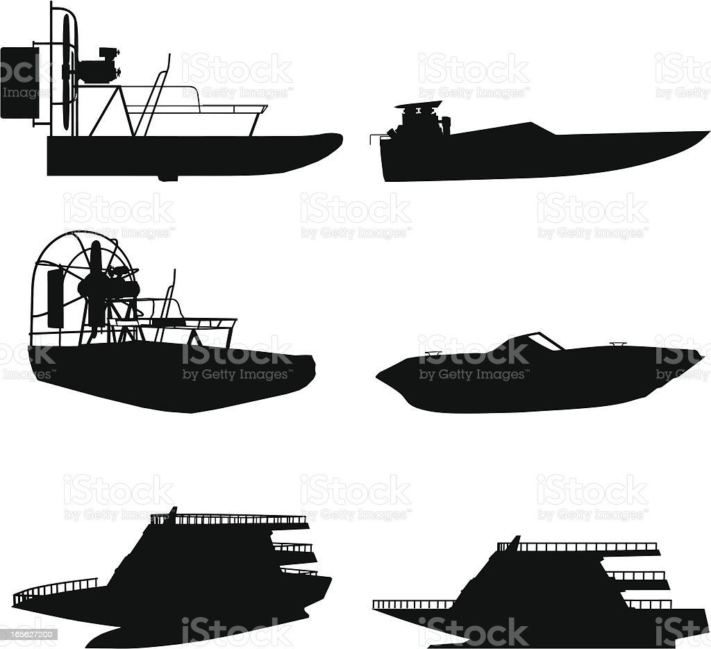 Boat silhouette collection vector art illustration