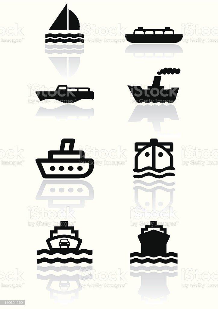 Boat symbol vector illustration set. vector art illustration