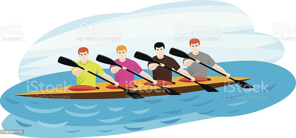 Boat team vector art illustration