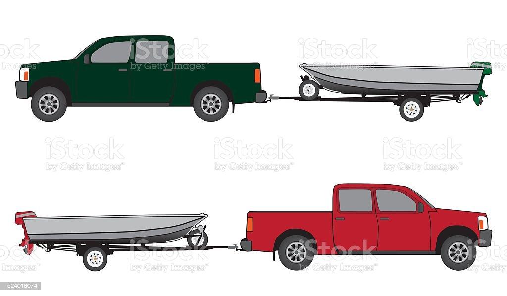 Boat Trailer and Pickup vector art illustration