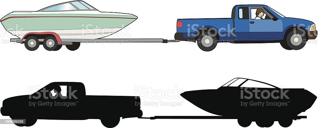 Boat trailer vector art illustration