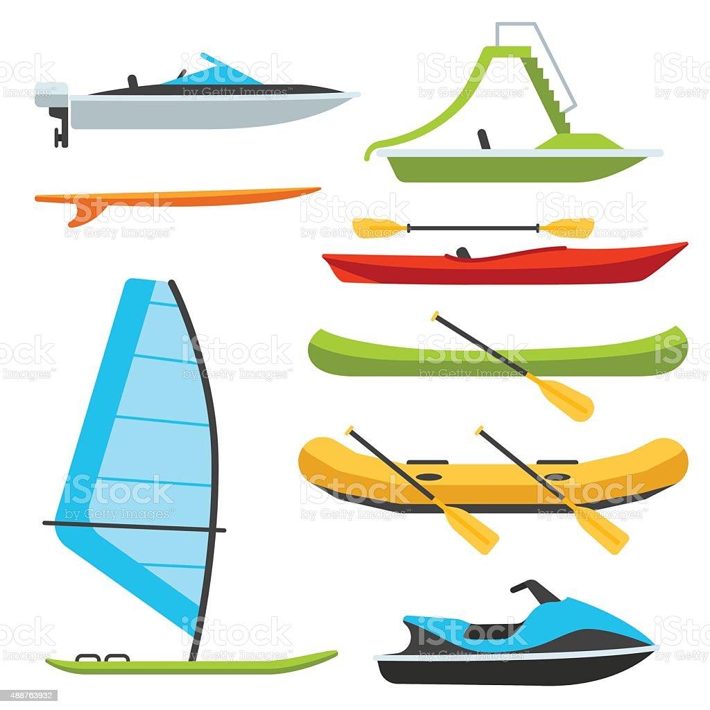 Boat types vector art illustration