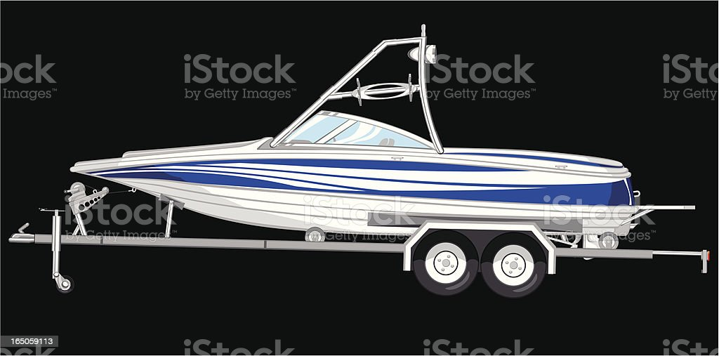 boat with a trailer vector art illustration