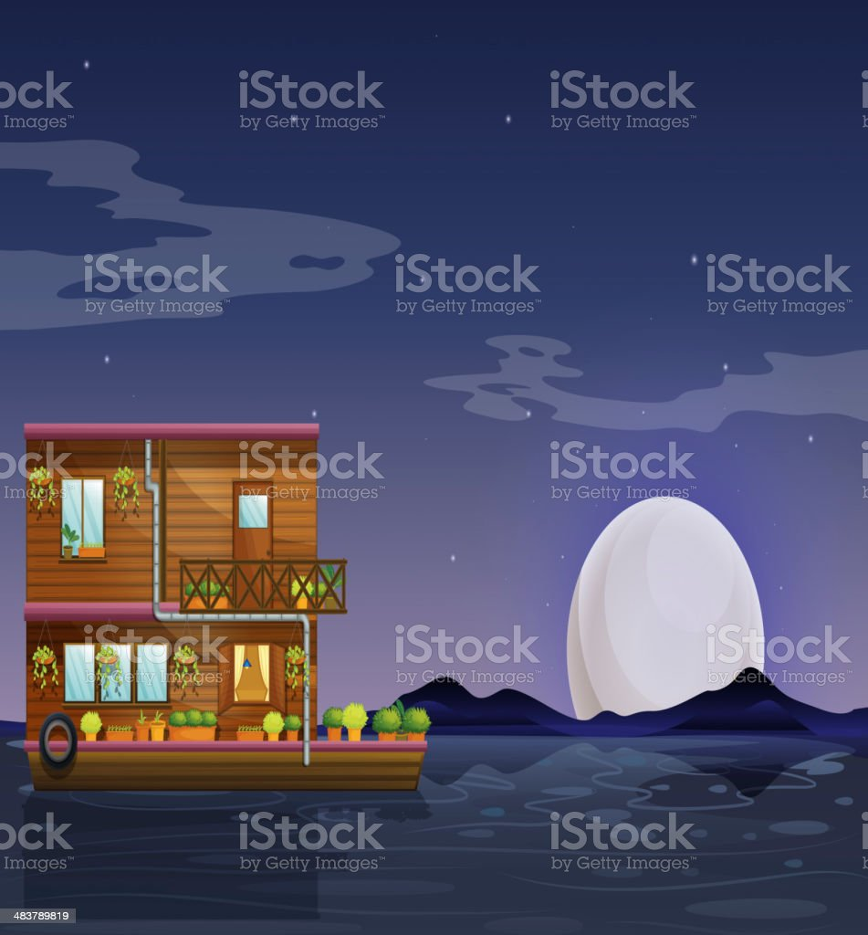 boathouse floating in the middle of night royalty-free stock vector art