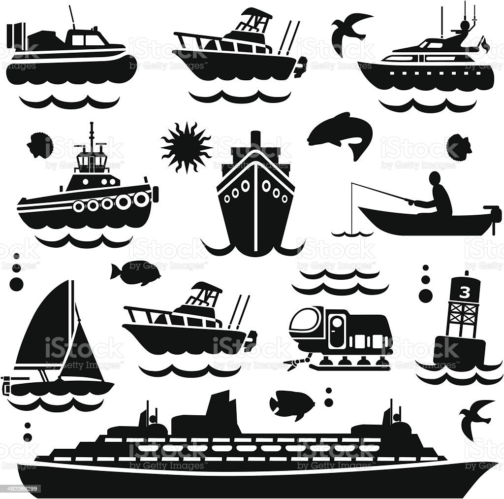 boating design elements vector art illustration