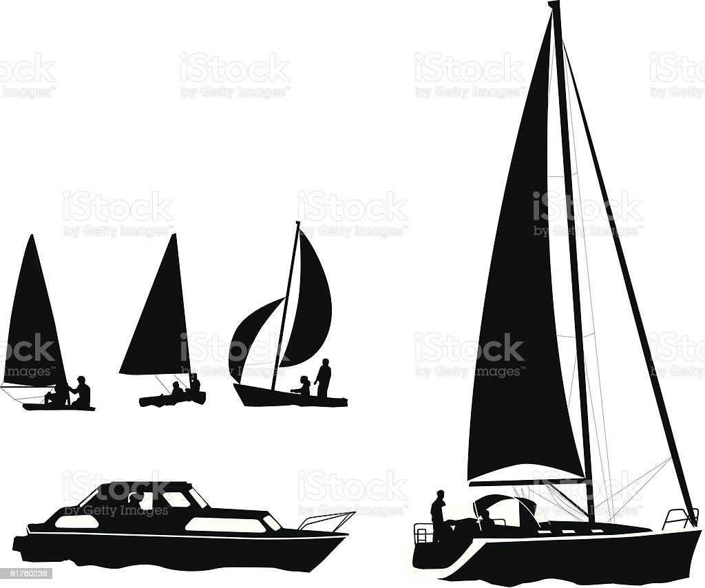 Bootfahren Silhouetten Lizenzfreies vektor illustration