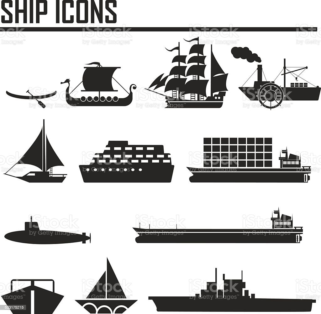 Boats and ships icons set vector art illustration