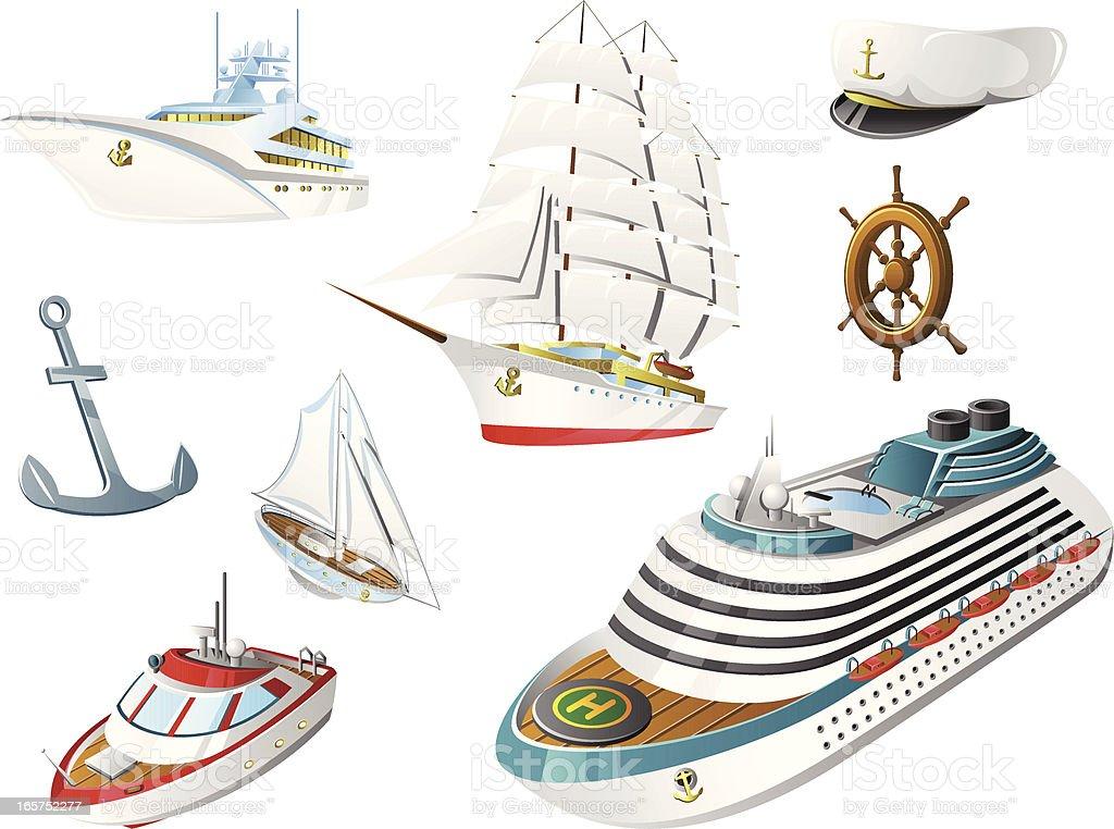 Boats and Ships royalty-free stock vector art
