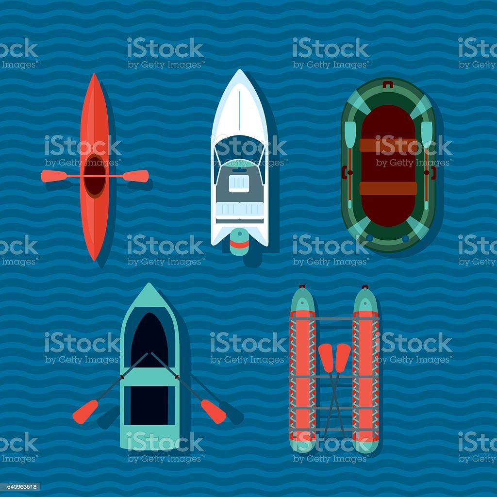 Boats collection. Top view of vectorts ships. vector art illustration