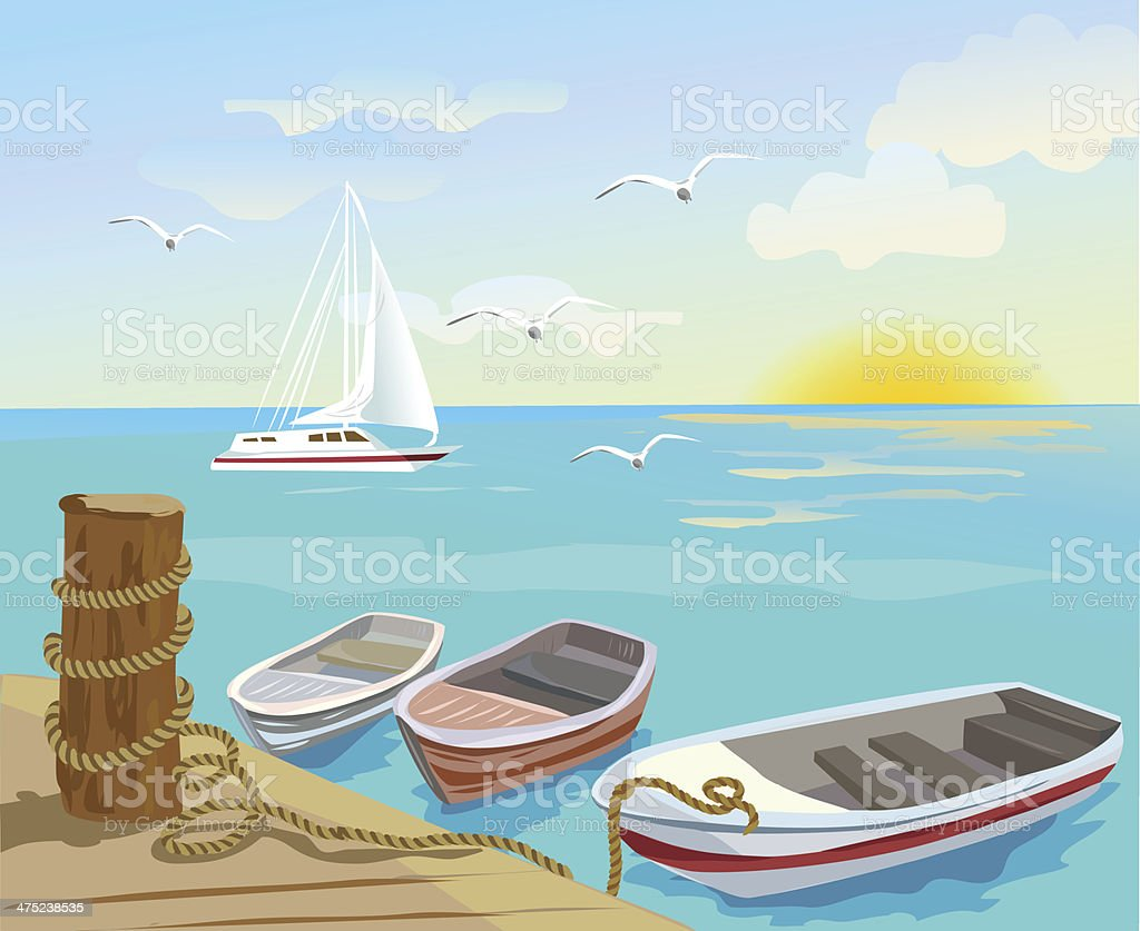 Boats on the sea berth royalty-free stock vector art