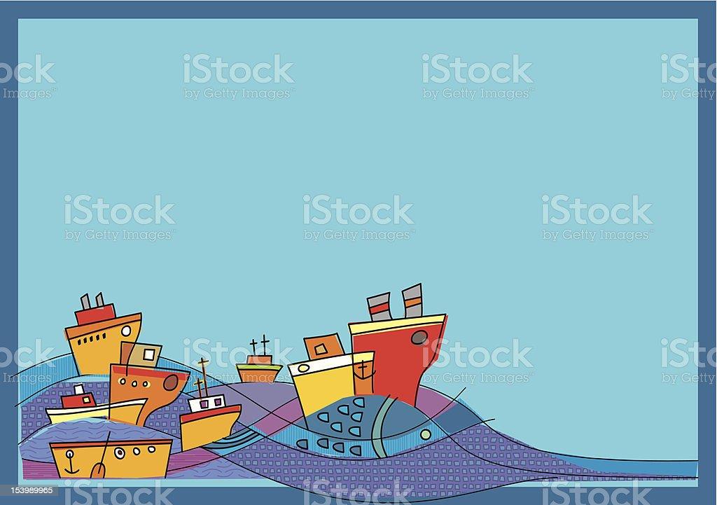 Boats, sea and big fish royalty-free stock vector art