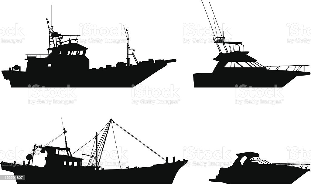 Boats vector art illustration