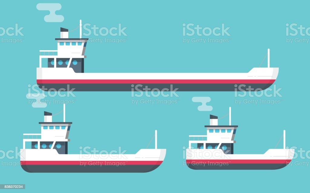Boats vector illustration set, flat cartoon small, big transport ships, empty freight vessel and small ferry or fishing boat isolated vector art illustration