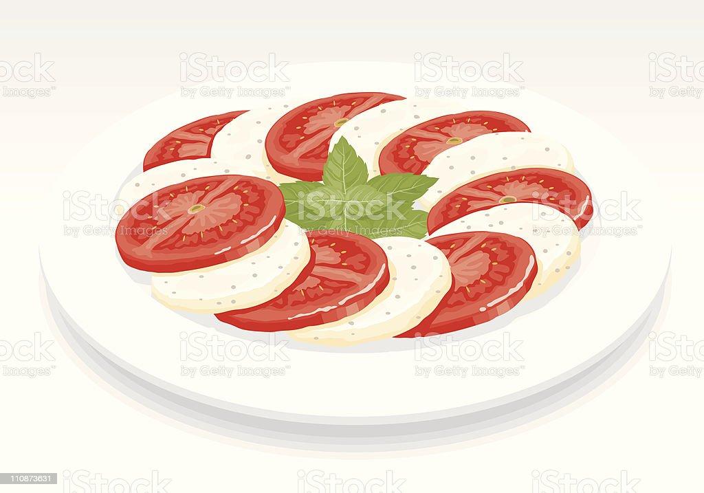 Bocconcini Salad vector art illustration